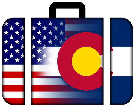 colorado state: Suitcase with USA and Colorado State Flag Stock Photo