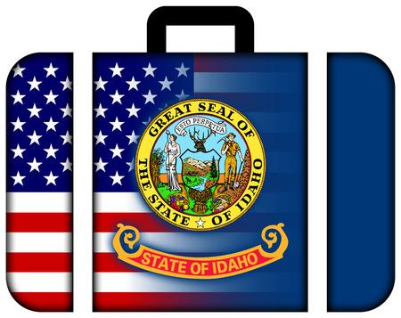 idaho state: Suitcase with USA and Idaho State Flag Stock Photo