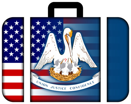 louisiana state: Suitcase with USA and Louisiana State Flag