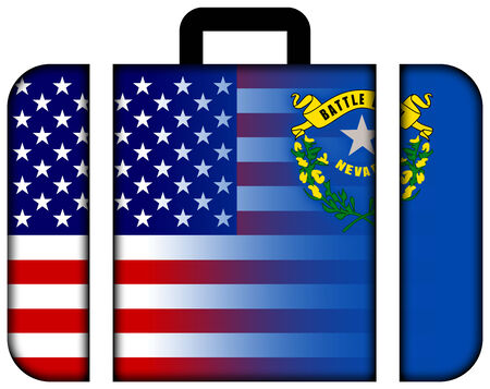 charges: Suitcase with USA and Nevada State Flag