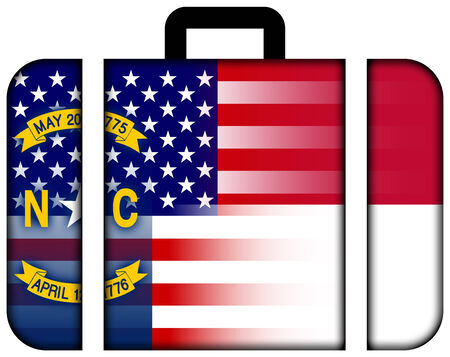 charges: Suitcase with USA and North Carolina State Flag