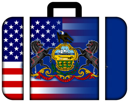 charges: Suitcase with USA and Pennsylvania State Flag