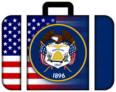 utah: Suitcase with USA and Utah State Flag