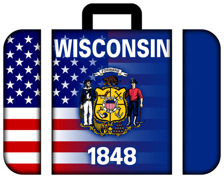 wisconsin state: Suitcase with USA and Wisconsin State Flag