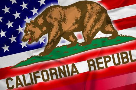 california state: Waving USA and California State Flag Stock Photo