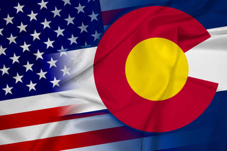 colorado state: Waving USA and Colorado State Flag Stock Photo