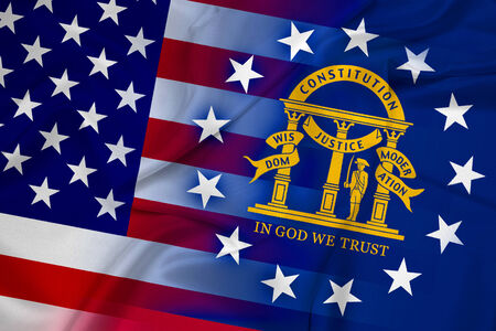 coupled: Waving USA and Georgia State Flag Stock Photo