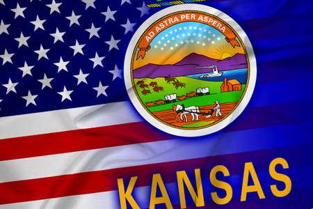 coupled: Waving USA and Kansas State Flag