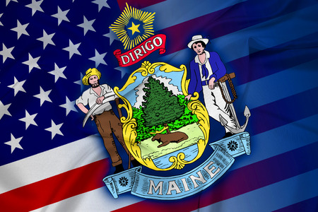 consolidated: Waving USA and Maine State Flag Stock Photo