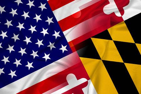 Waving USA and Maryland State Flag Reklamní fotografie