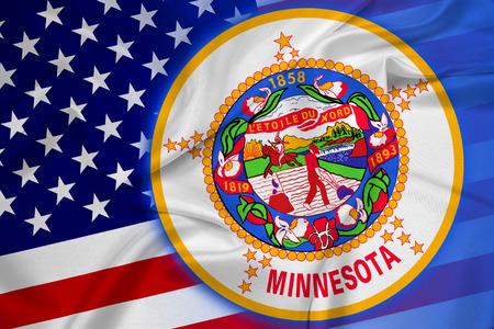 coupled: Waving USA and Minnesota State Flag