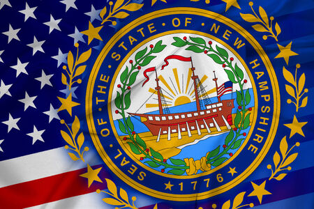 hampshire: Waving USA and New Hampshire State Flag