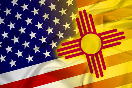 new mexico: Waving USA and New Mexico State Flag Stock Photo
