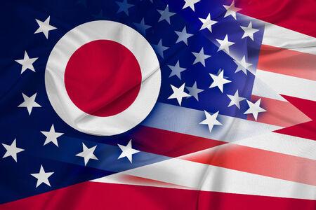 Waving USA and Ohio State Flag photo