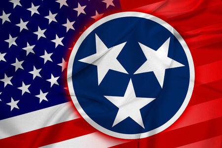 coupled: Waving USA and Tennessee State Flag