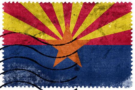 state of arizona: Arizona State Flag - old postage stamp Stock Photo