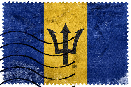 Barbados Flag - old postage stamp photo
