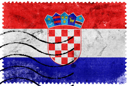 bandera croacia: Bandera de Croacia - antiguo sello postal Foto de archivo