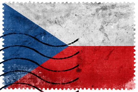 czech republic flag: Czech Republic Flag - old postage stamp Stock Photo