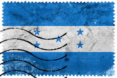 Honduras Flag - old postage stamp photo