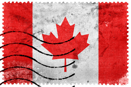 canada stamp: Canada Flag - old postage stamp