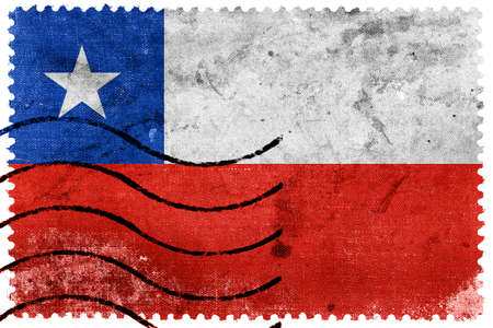 chile: Chile Flag - old postage stamp Stock Photo