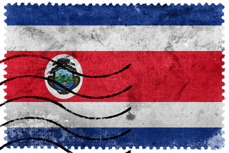 costa rica flag: Costa Rica Flag - old postage stamp Stock Photo