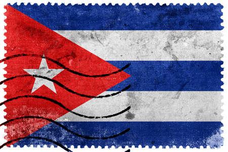 bandera cuba: Bandera de Cuba - antiguo sello postal Foto de archivo