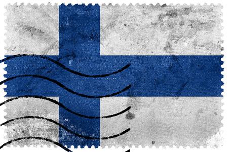 sello postal: Bandera de Finlandia - antiguo sello postal Foto de archivo