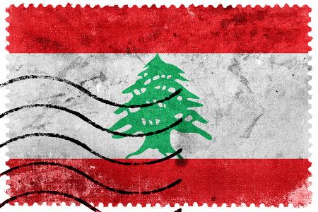 Lebanon Flag - old postage stamp photo