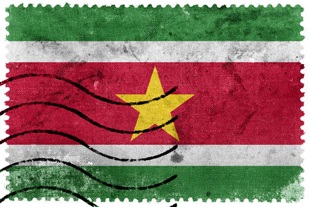 suriname: Suriname Flag - old postage stamp Stock Photo