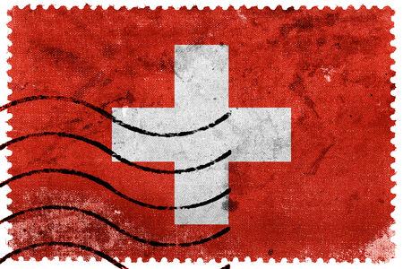 zwitserland vlag: Zwitserland Flag - oude postzegel