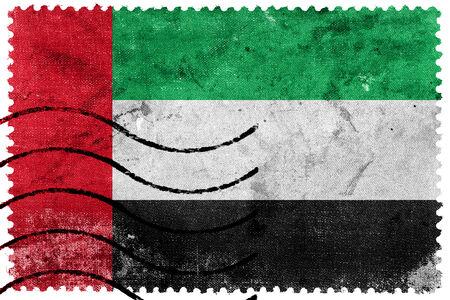 emirates: United Arab Emirates Flag - old postage stamp Stock Photo