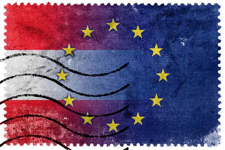 Austria and European Union Flag - old postage stamp photo