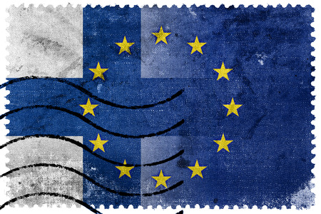 nato: Finland and European Union Flag - old postage stamp