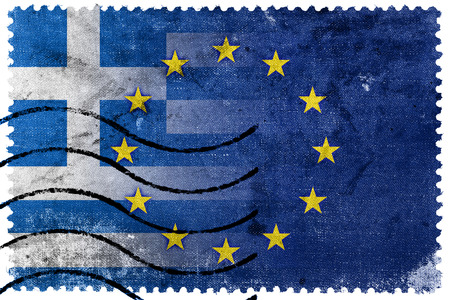 Greece and European Union Flag - old postage stamp photo