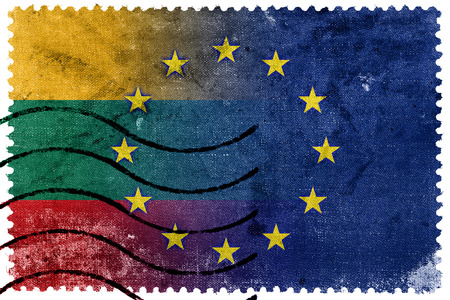 nato: Lithuania and European Union Flag - old postage stamp