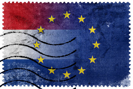 nato: Netherlands and European Union Flag - old postage stamp