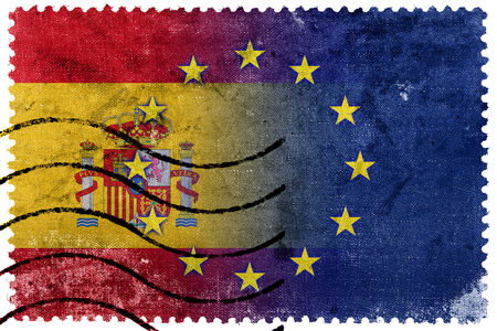 nato: Spain and European Union Flag - old postage stamp