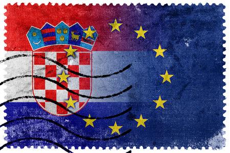 Croatia and European Union Flag - old postage stamp