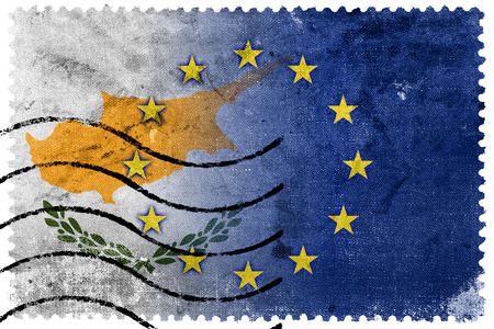 nato: Cyprus and European Union Flag - old postage stamp
