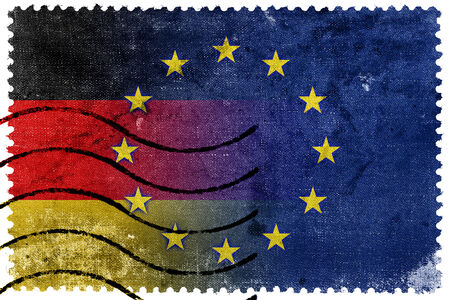 Germany and European Union Flag - old postage stamp