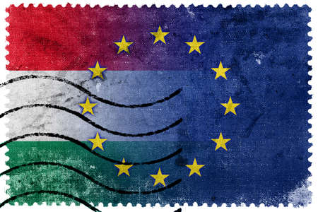 nato: Hungary and European Union Flag - old postage stamp Stock Photo
