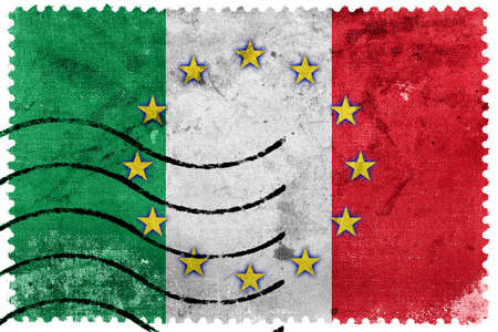 nato: Italy and European Union Flag - old postage stamp
