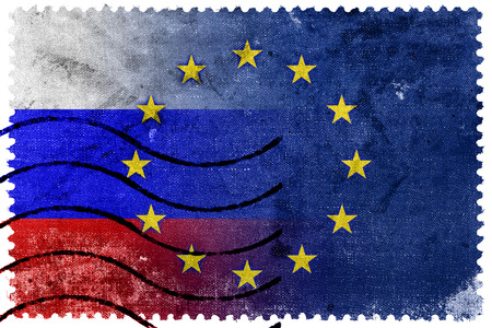 separatist: Russia and European Union Flag - old postage stamp Stock Photo