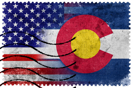 state of colorado: USA and Colorado State Flag - old postage stamp