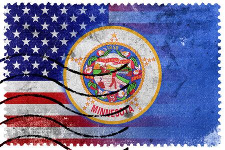 USA and Minnesota State Flag - old postage stamp photo