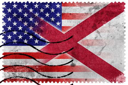 alabama: USA and Alabama State Flag - old postage stamp Stock Photo