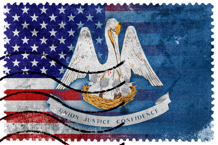 louisiana state: USA and Louisiana State Flag - old postage stamp