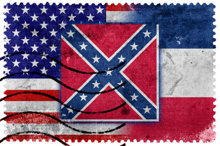 USA and Mississippi State Flag - old postage stamp photo